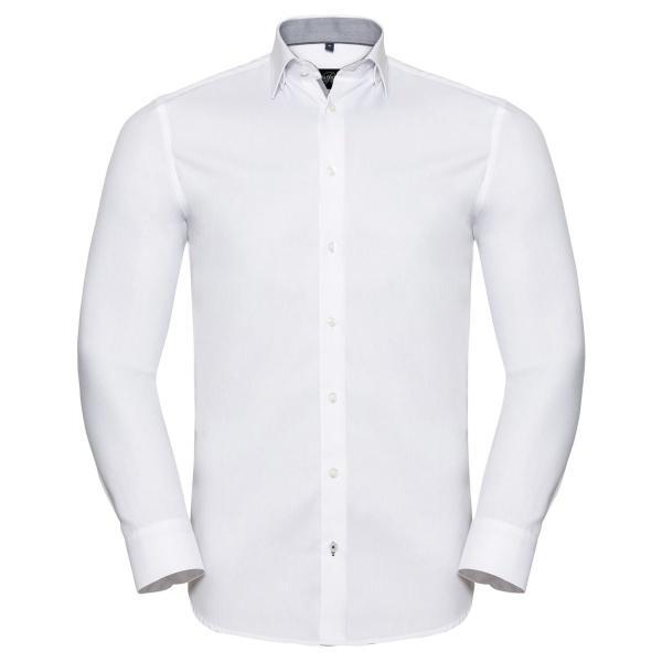 Tailliertes Herringbone Kontrast-Hemd – Langarm