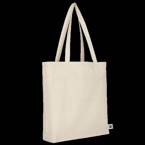 Texxilla Tasche aus Fairtrade-Baumwolle mit zwei langen Henkeln, Boden- und Seitenfalte