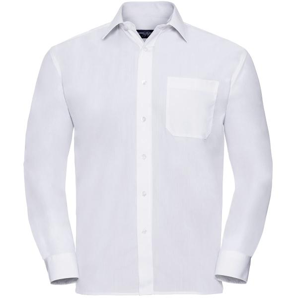 Men's Long Sleeve Polycotton Easy Care Poplin Shirt