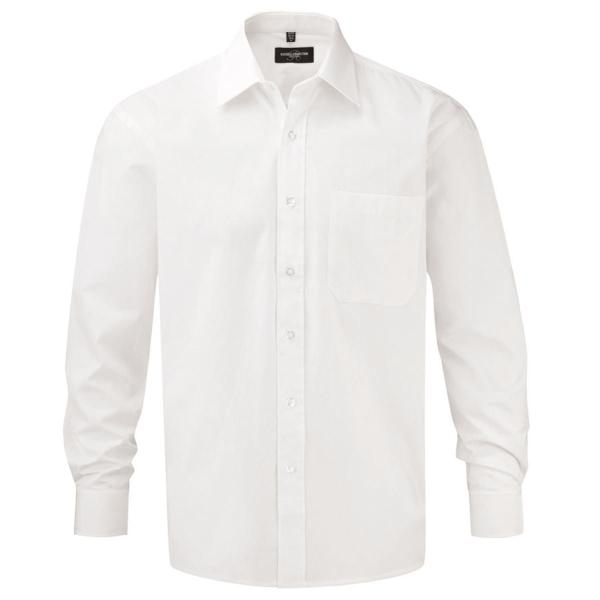 Men's Long Sleeve Pure Cotton Easy Care Poplin Shirt